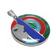Dije círculo con lineas semicírculo estilo Plata Peruana de acero quirúrgico
