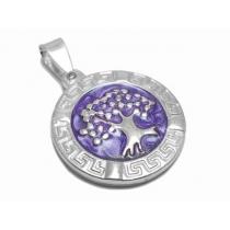 Dije árbol de la vida esmaltado violeta con guarda de acero blanco