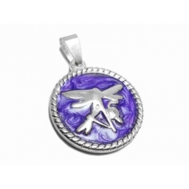 Dije libelula esmaltada violeta de acero blanco