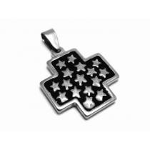 Dije cruz del equilibrio esmaltada negra con estrellas de acero quirúrgico