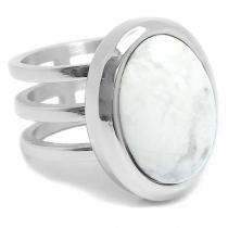 Anillo triple con piedra blanco marmol ovalada de acero quirúrgico
