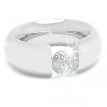 Anillo grueso con piedra facetada tipo diamante de acero quirúrgico