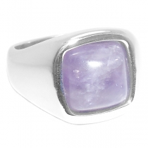 Anillo con piedra violeta uva cuadrada de acero quirúrgico