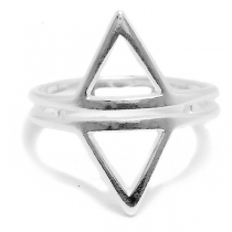 Anillo de Plata doble triangulo