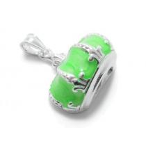 Dije corona esmaltada verde de acero blanco