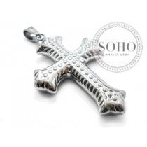 Dije cruz inflado y tramado de acero quirúrgico SOHO