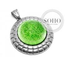 Dije piedra verde de acero quirurgico SOHO