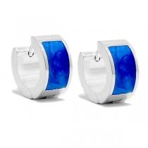 Aros cubanos esmaltados azules de acero blanco