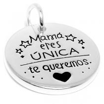 """Dije """"Mamá eres única, te queremos ♥"""" de acero blanco"""