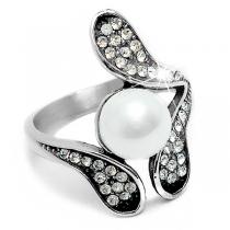 Anillo flor con cubics blancos y perla de acero quirúrgico