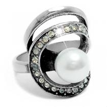 Anillo con cubics blancos y perla de acero quirúrgico