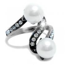 Anillo S con cubics blancos y perla de acero quirúrgico