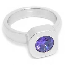 Anillo cuadrado con cristal facetado violeta de acero quirúrgico