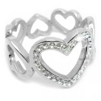 Anillo de corazones calados con cubics blancos de acero quirúrgico