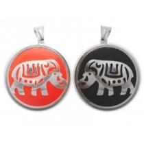 Dije elefante doble faz rojo y negro de acero blanco