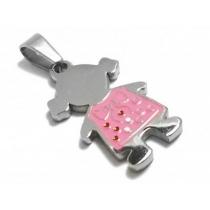 Dije nena esmaltado rosa de acero quirurgico