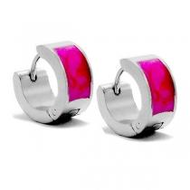 PACK x12 Aros cubanos esmaltado rosado de acero quirúrgico