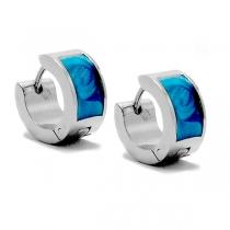 PACK x6 Aros cubanos esmaltado azul de acero quirúrgico