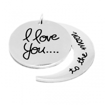 "PACK de 5 Dijes ""I Love you to the moon"" (""Te amo hasta la luna"") de acero blanco"