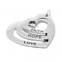 PACK de 5 Dijes corazón triple FAITH, HOPE, LOVE de acero blanco