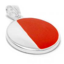 Dije círculo con esmalte rojo de acero blanco