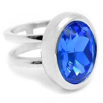 Anillo doble con piedra ovalada azul rey de acero quirúrgico