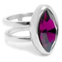 Anillo doble con piedra ovalada violeta de acero quirúrgico