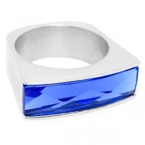 Anillo piedra rectangular facetada azul rey de acero quirúrgico