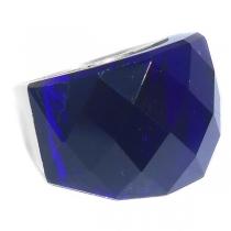 Anillo piedra facetada gruesa violeta de acero quirúrgico