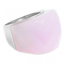 Anillo piedra facetada gruesa rosa opaco de acero quirúrgico
