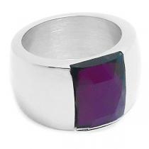 Anillo piedra facetada violeta de acero quirúrgico