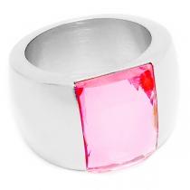 Anillo piedra facetada rosa de acero quirúrgico