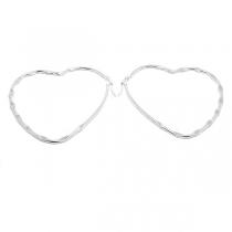 PACK de 6 pares de Aros argolla corazón tramado 60mm de acero blanco