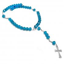 Cadena rosario cristales azules de acero quirúrgico