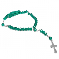Cadena rosario cristales verdes de acero quirúrgico