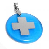 Dije cruz del equilibrio con nácar azul de acero quirúrgico
