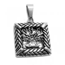 Dije árbol de la vida esmaltado con marco cuadrado de acero quirúrgico