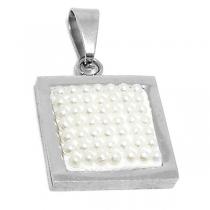 Dije cuadro con microperlas blancas de acero quirúrgico