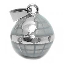 Dije globo terráqueo gris de acero quirúrgico