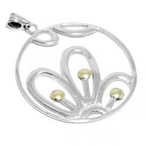 Dije de Plata círculo con flor y aplique dorado
