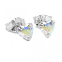 Aros de Plata cubic corazón engarzado tornasol 4mm