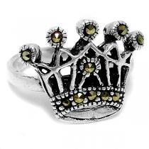 Anillo de Plata 925 corona con marquesitas