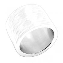 Anillo ancho tramado de acero blanco