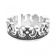 Anillo corona esmaltado y tramado de acero blanco