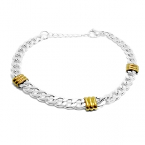 PACK x10 Pulsera groumet con duble de acero blanco