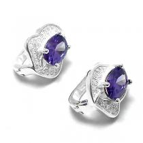 Aros de Plata colgante con cubic y piedra violeta