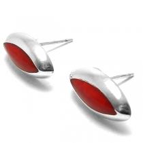 Aros de Plata ovalo con piedra roja