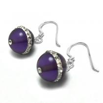 Aros de Plata bolita lisa colgante 10mm violeta con cubics
