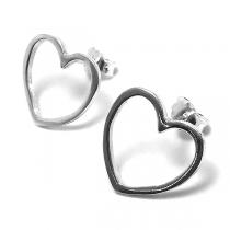 Aros de Plata 925 corazón 25mm