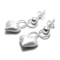 Aros de Plata 925 corazón inflado colgante con infinito Alt. 26mm